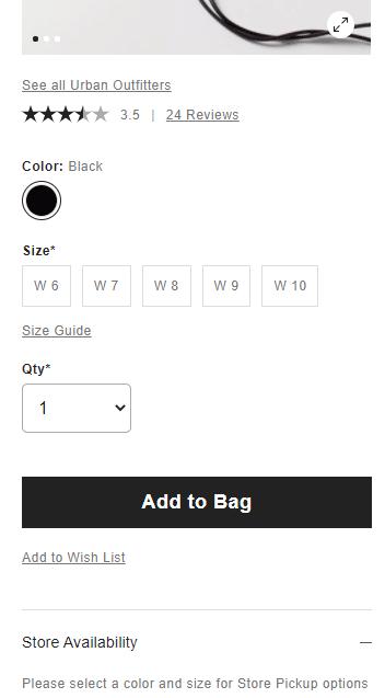 דוגמא לעמוד מוצר במובייל